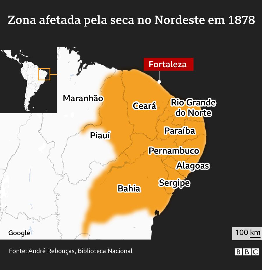 Mapa da região afetada pela seca em 1877-79 no Nordeste brasileiro