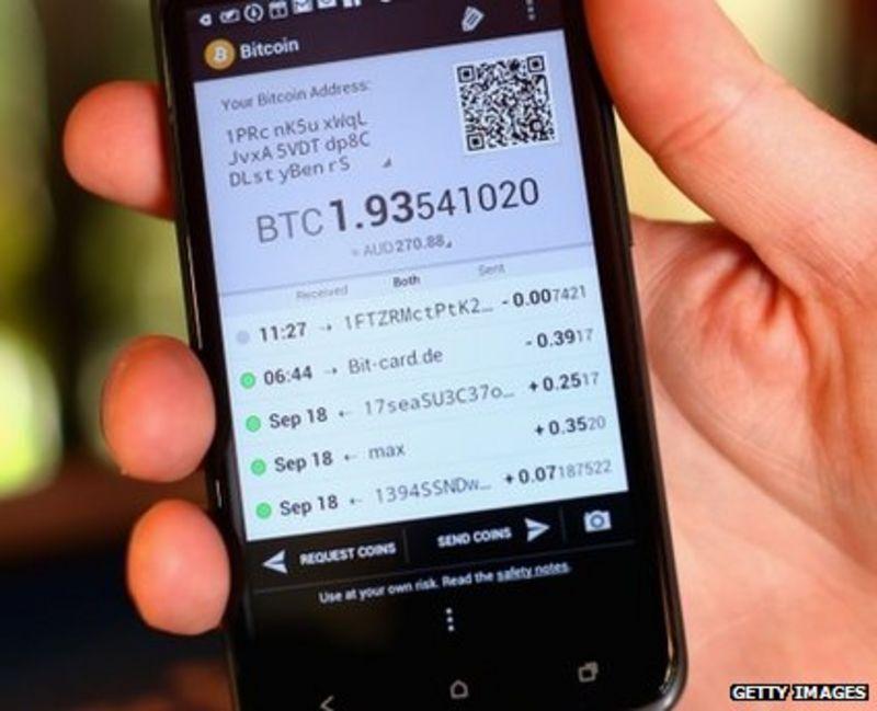 Un portafoglio Bitcoin su uno smartphone