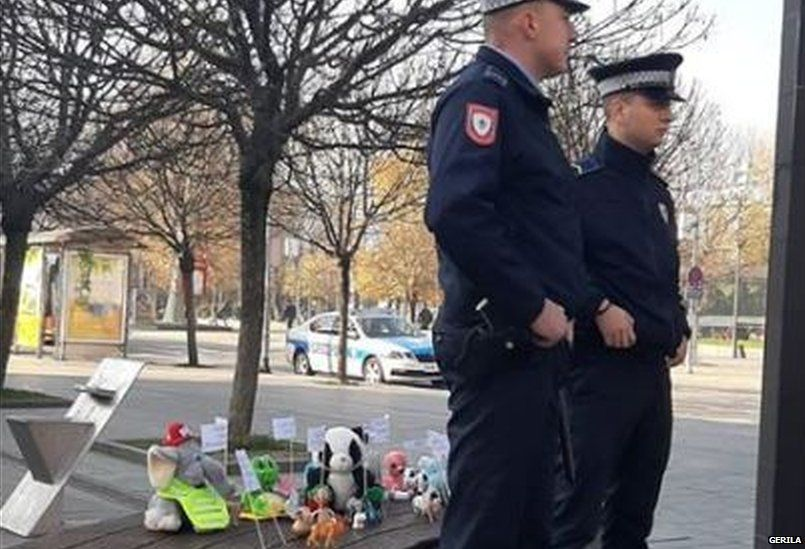 "Policemen ""guarding"" toy protesters"