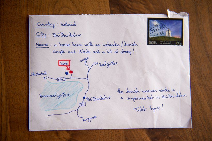 Envelope with hand-drawn map