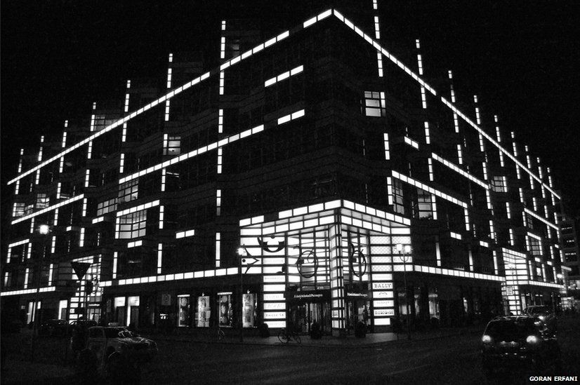 Building at night in Berlin