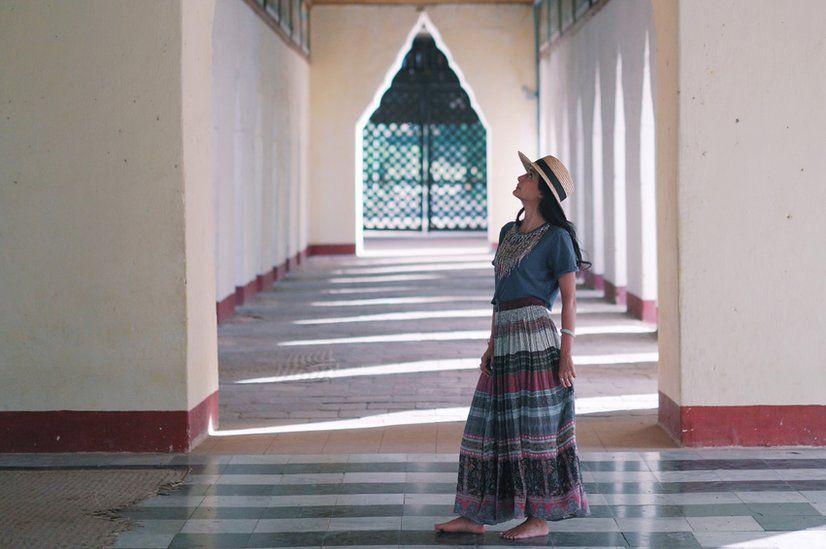 Woman in Ananda Temple in Bagan, Myanmar