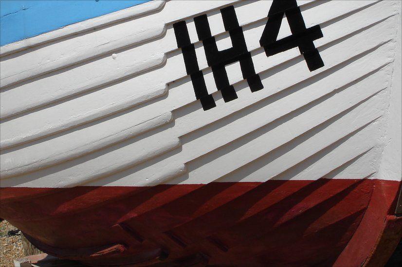 A clinker-built boat at Felixstowe ferry in Suffolk.