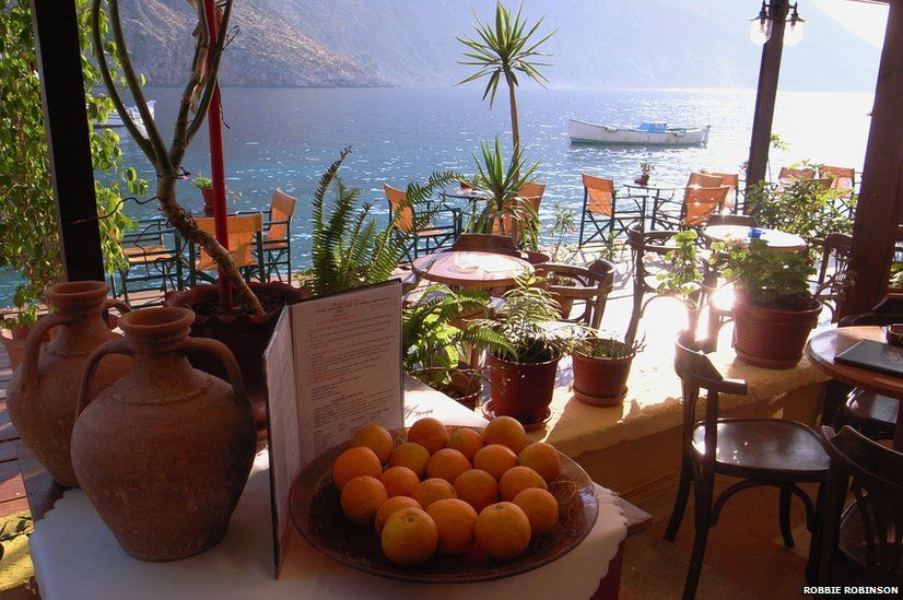 Cafe by a lake