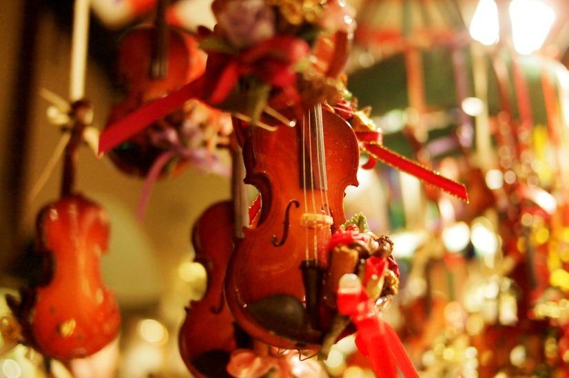 A mobile decoration of a violin