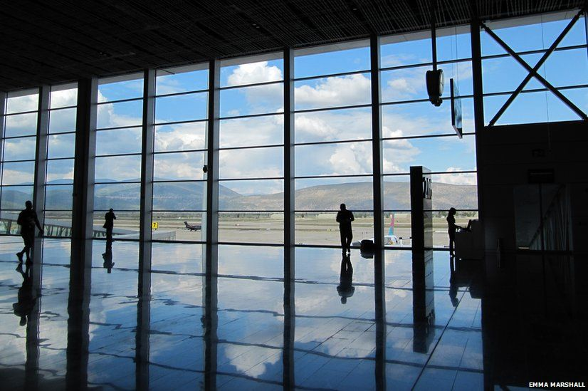 Reflection of the airport in the floor at Bodrum airport Turkey