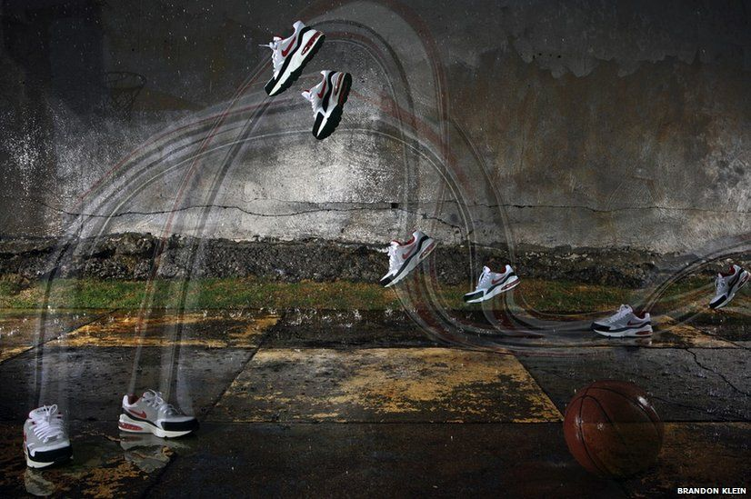 Conceptual image of shoes running