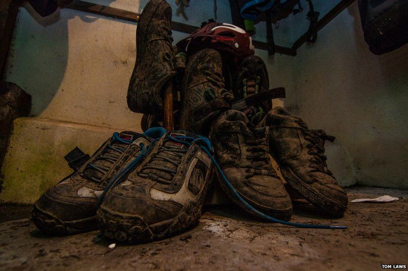 Boots in a drying room