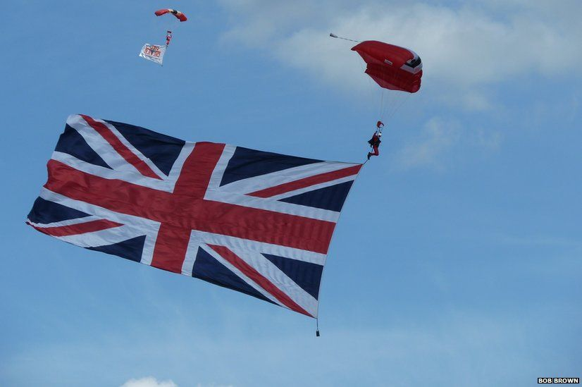 Red Devils Parachute Freefall Team with Union flag
