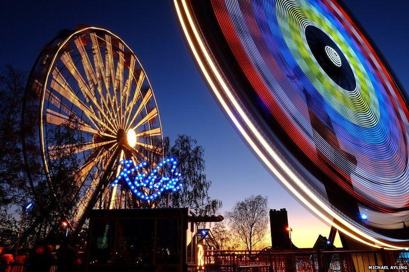 Dusk at the Fair Amusement Park in Helsinki, Finland
