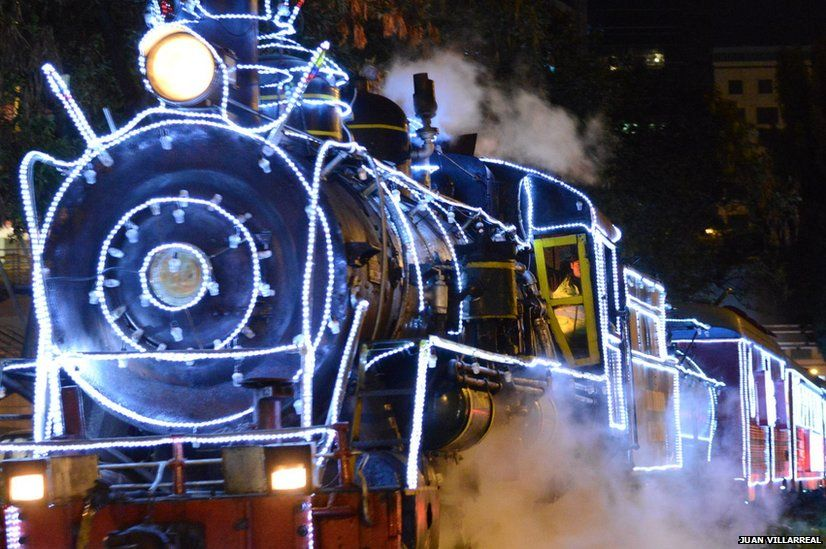 Tourist train leaving from Bogota is decorated at Christmas