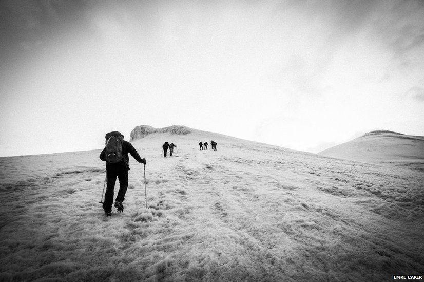 People climb Mount Ararat