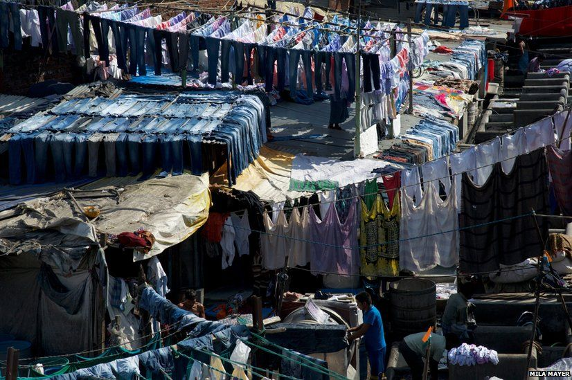 Laundry being done at the Dhobi Ghats in Mumbai, India