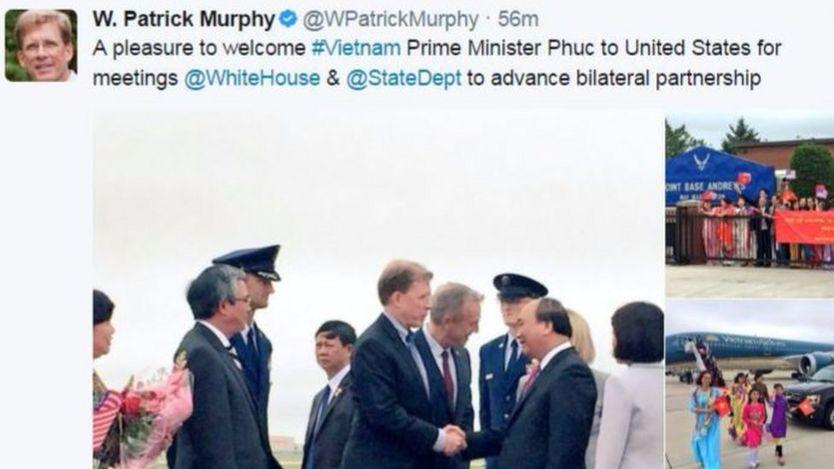 Patrick Murphy, Phó trợ lý Ngoại trưởng Mỹ, đăng hình trên Twitter