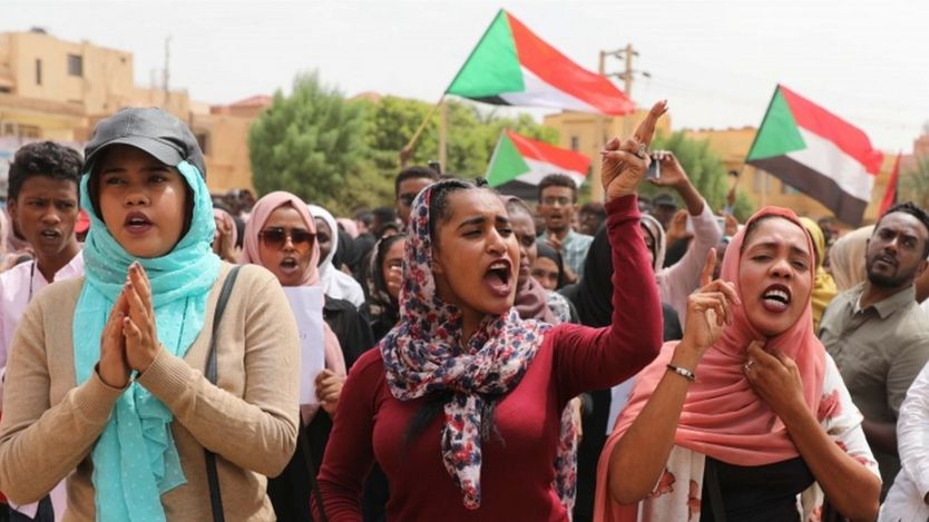 Demonstrators in Sudan. Photo: July 2019