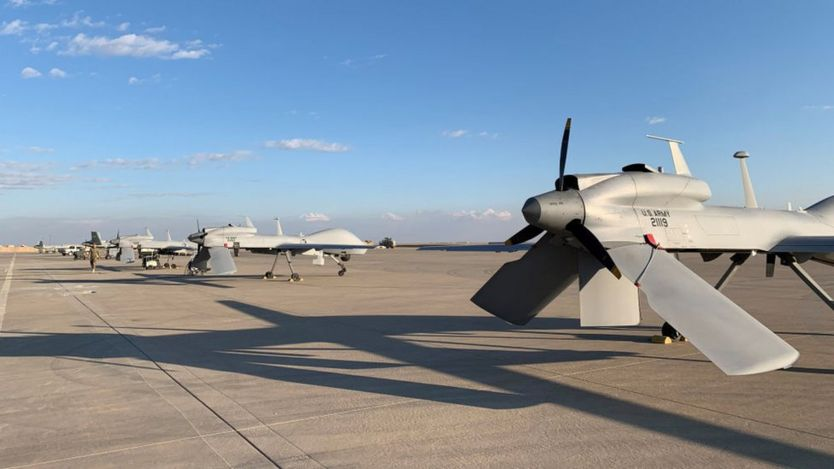 US army drones at the Ain al-Asad airbase in the western Iraqi province of Anbar, pictured in January 2020