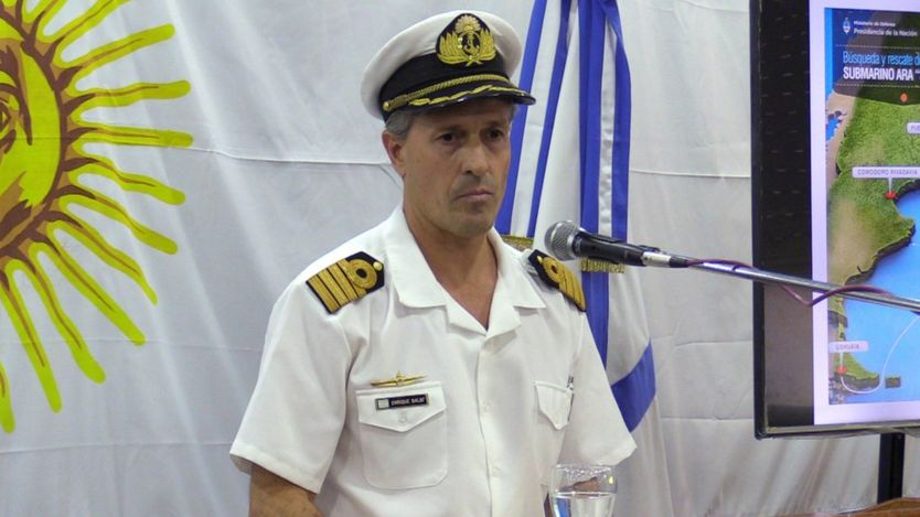 Argentine navy spokesman Enrique Balbi speaks during a press conference in Buenos Aires, Argentina, 30 November 2017