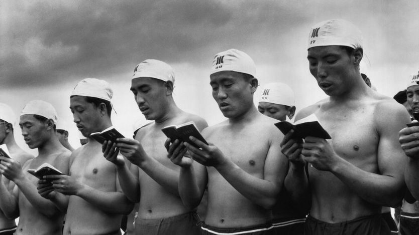 Swimmers reading the little red book