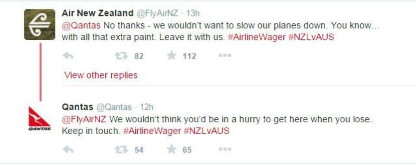 A screenshot of the Twitter exchange between Air New Zealand and Qantas