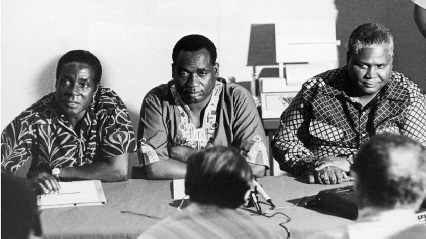 Robert Mugabe,(l) The Deputy Of The African National Congress (Anc) Georges Silundika And The Leader Of The Zapu Party (Zimbabwe African People Union) Joshua Nkomo At A Meeting In Dar Es Salaam,