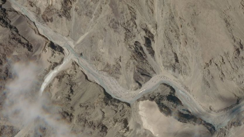 A satellite image taken over Galwan Valley in Ladakh, India, parts of which are contested with China, 16 June 2020, in this handout obtained from Planet Labs