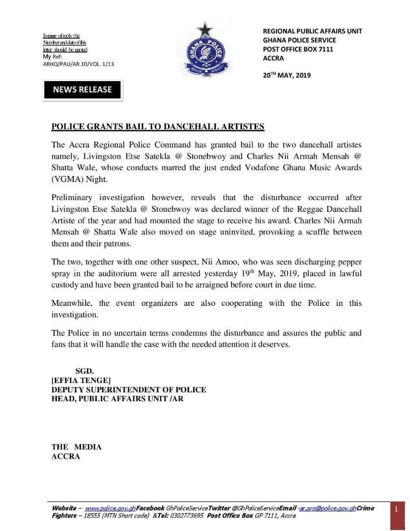 VGMA2019: Stonebwoy and Shatta Wale get bail but police say court