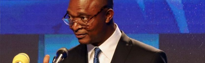 Emmanuel Ramazani Shadary, Congolese Presidential candidate for the ruling Common Front of Congo (FCC) coalition announces his political manifesto in Kinshasa, Democratic Republic of Congo November 19, 2018.