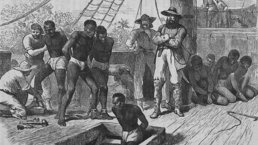Hình vẽ 1835 mô tả buôn nô lệ