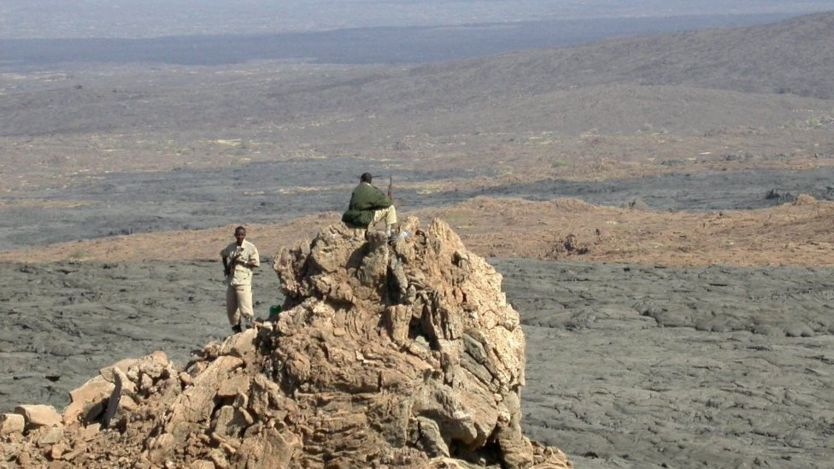 Afar police standing guard on the slopes of the Erta Ale volcano in the Afar region of East Africa in 2005