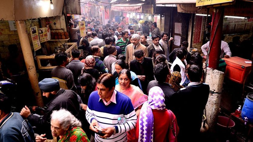 The famous Paranthe wali gali (bylane of fried bread) in Chandni Chowk, on August 20, 2014 in New Delhi, India.