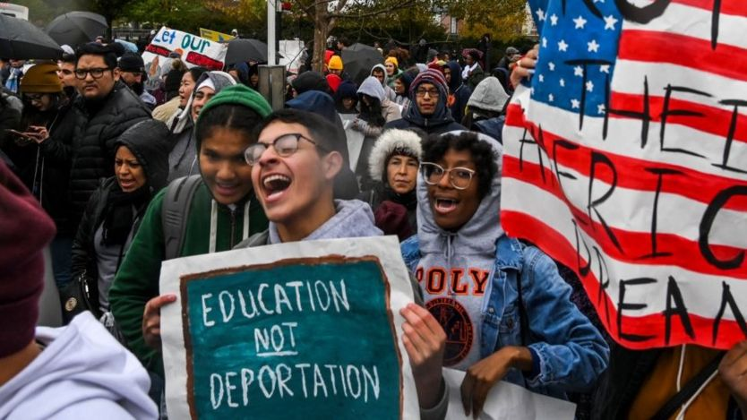 Young people protests outside the US Supreme Court in November in support of the Dreamers Act.