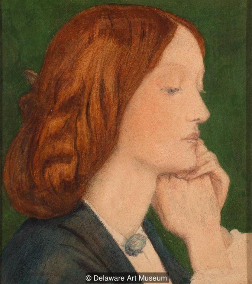 Elizabeth Siddal em obra de Dante Gabriel Rossetti (1852)
