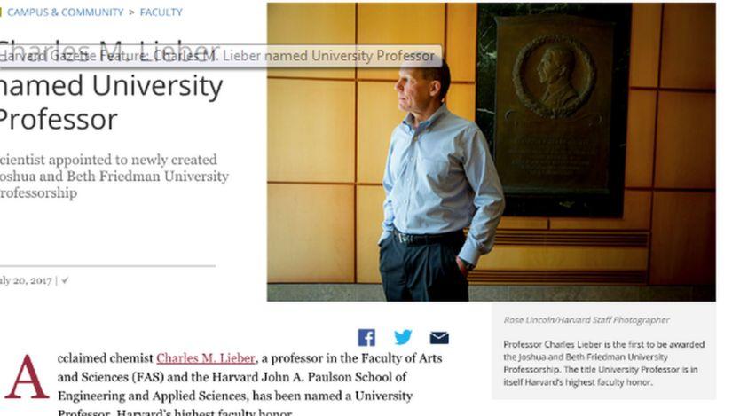Website khoa Hóa ĐH Harvard loan tin khi ông Lieber được bổ nhiệm Giáo sư