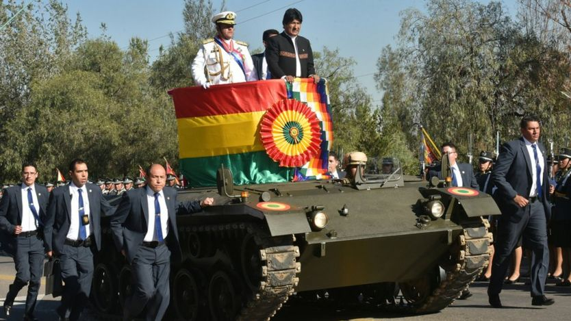 President Evo Morales on a tank at the annual military celebrations August 2018