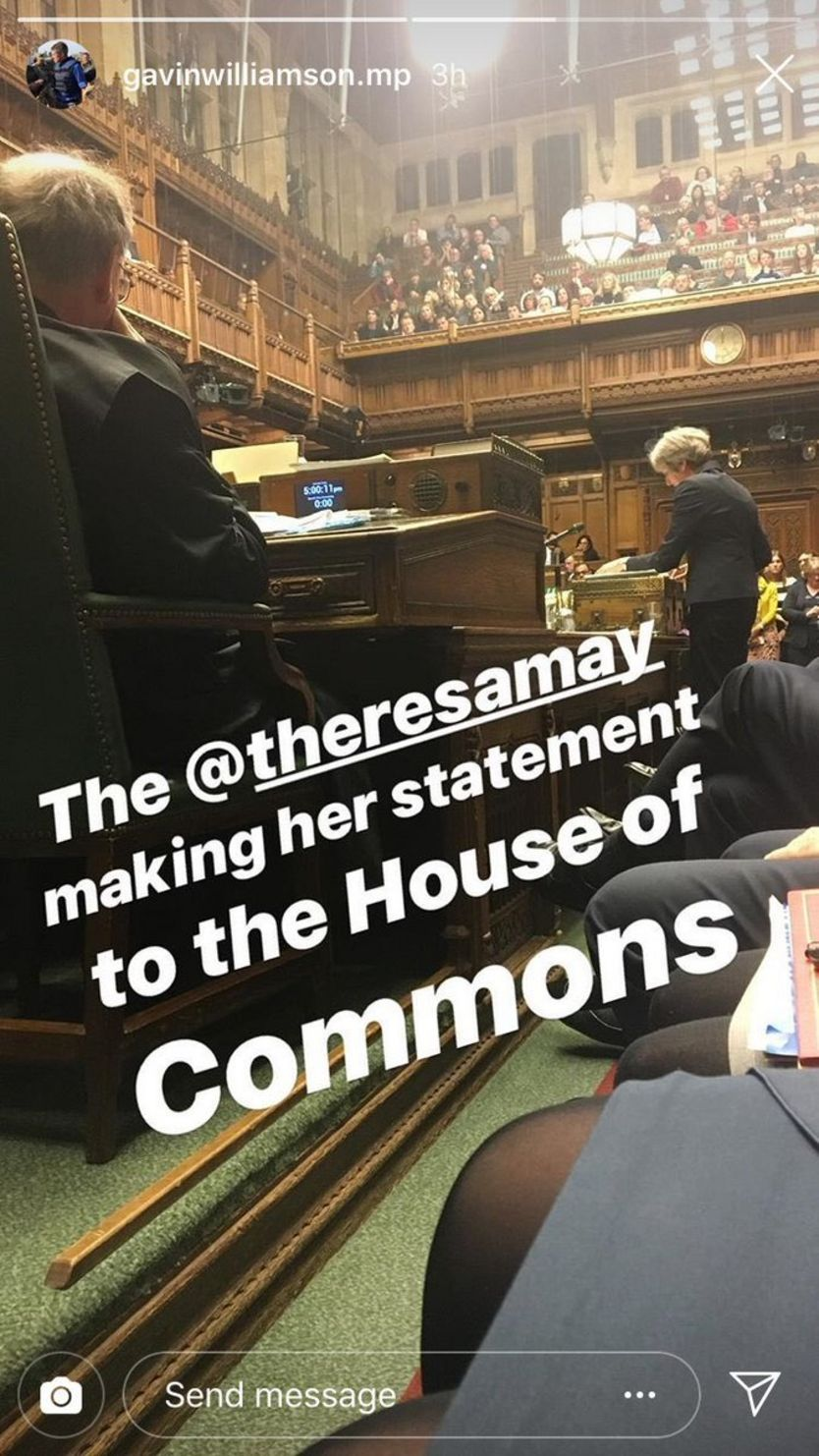 Picture inside the House of Commons of Theresa May