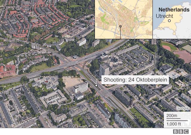 Map of Utrecht shooting 18 March 2019