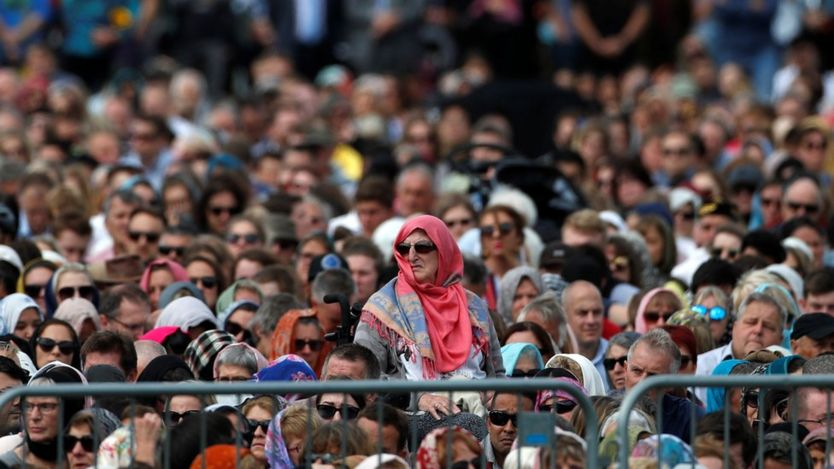 People attend the Friday prayers at Hagley Park outside Al-Noor mosque in Christchurch, New Zealand March 22, 2019