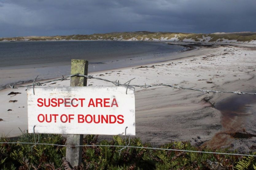 Sign marking area out of bounds