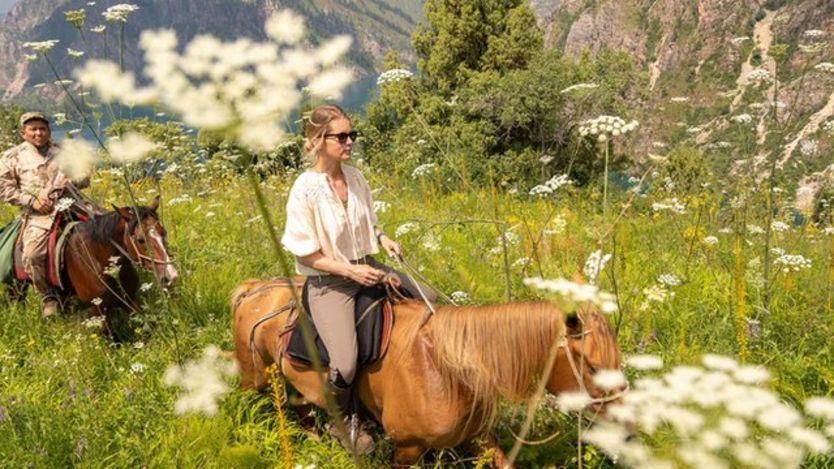 Alexandra Tolstoy on a horseback expedition