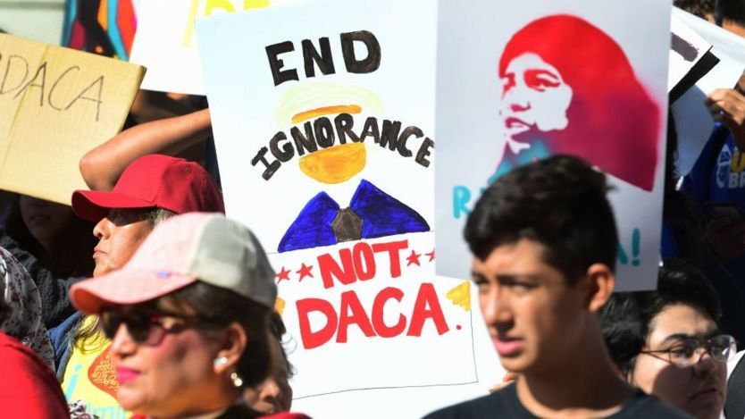 """""""Dreamers"""" protests outside the US Supreme Court in November"""