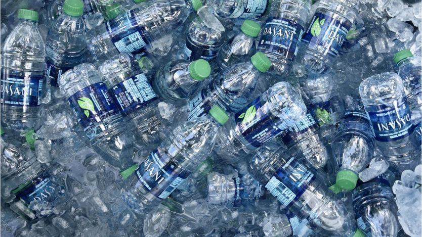 Plastic bottles of Dasani water
