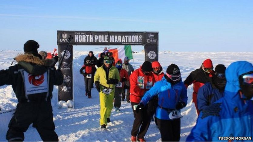 North Pole Marathon finish line