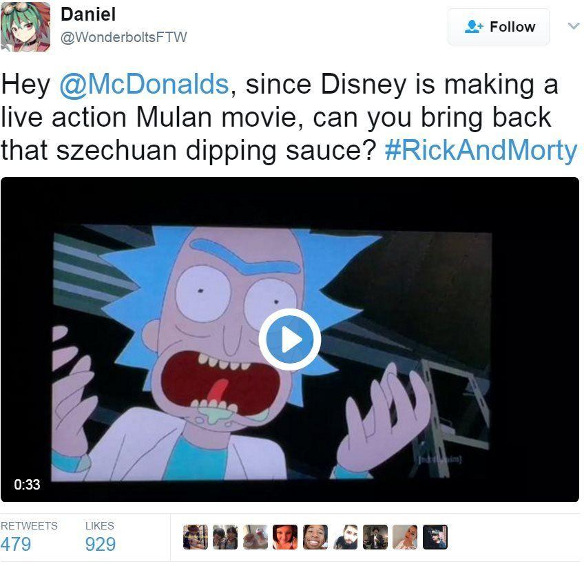 Screen grab of tweet by @WonderboltsFTW