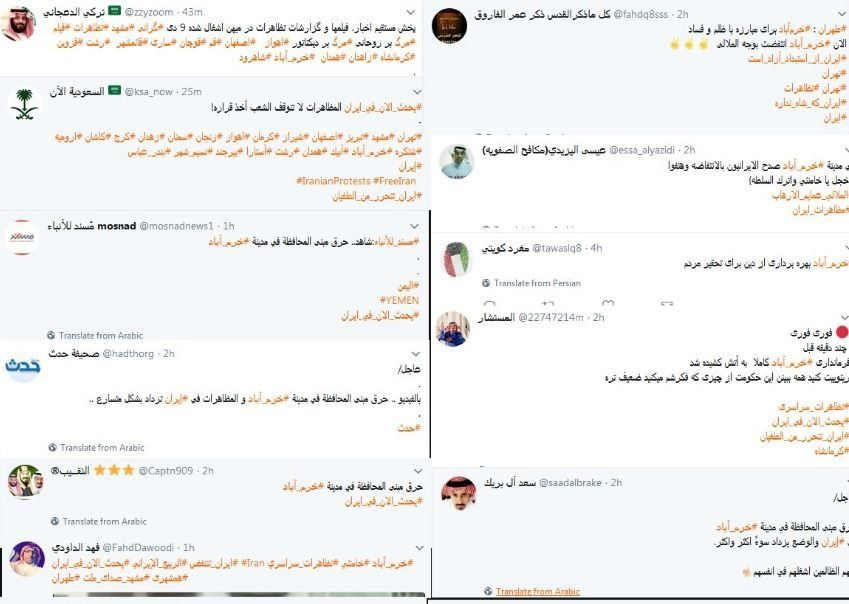 The protests in Iran attracted an usually large number of tweets from Saudi Arabia and the rest of the Arab world