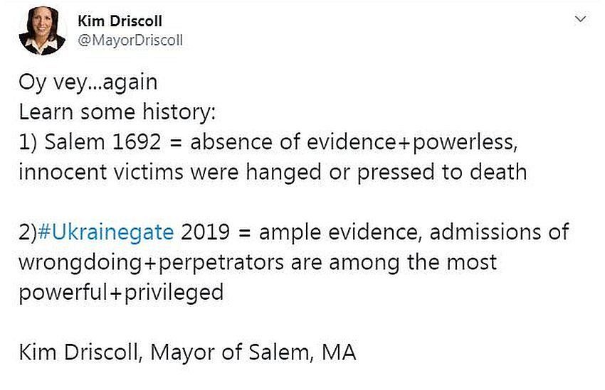 Tweet from Mayor of Salem Kim Driscoll