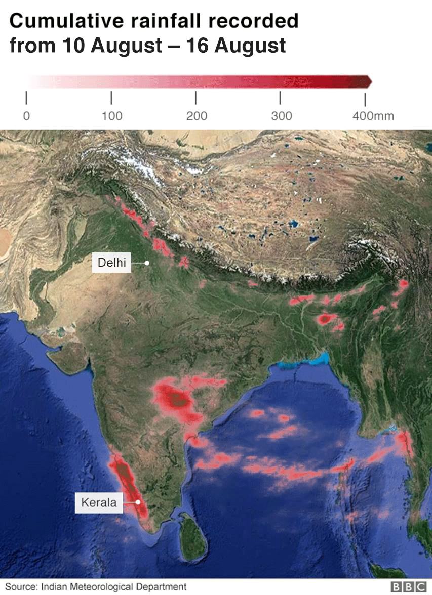 Map showing rainfall in India 10 - 16 August