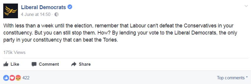 Lib Dem advert, encouraging people to 'lend' their vote to the party
