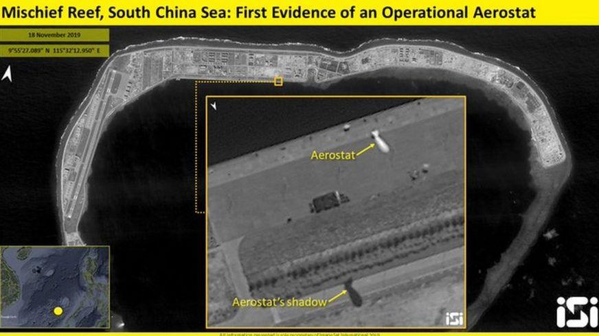 Hình ảnh vệ tinh cho thấy Trung Quốc đang triển khai khí cầu ở Đá Vành Khăn trên Biển Đông