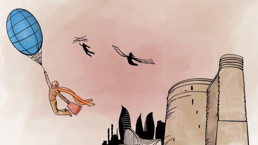 Летающие люди на фоне Девичьей башни и других достопримечательностей Баку