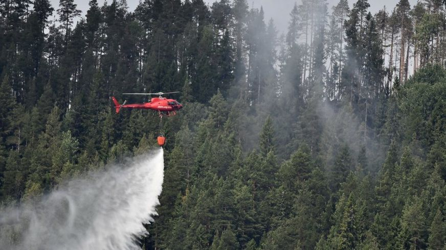 A chartered helicopter dumps a load of water onto a smouldering spot in a forest near the village Grotingen in the Bracke municipality to fight one of many wild fires in central Sweden, 22 July 2018